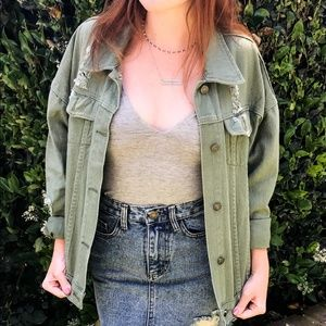 Jean Jacket - Olive Colored (NEW)